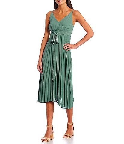 Allison & Kelly Spaghetti Strap Wrap Pleated Midi Dress