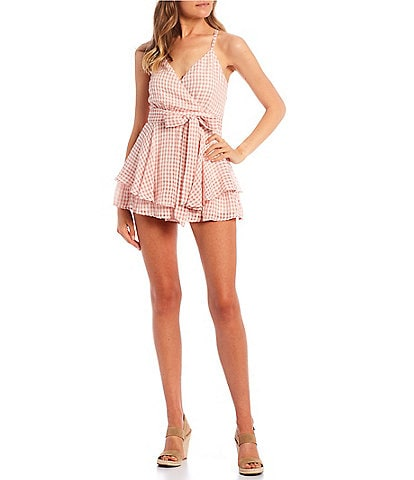 Allison & Kelly Surplice V-Neck Gingham Tiered Chiffon Romper