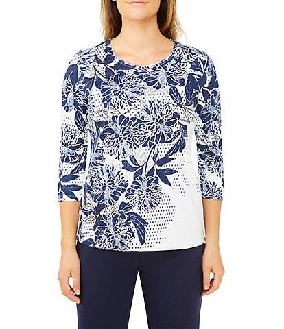Allison Daley Chrysanthemum Floral Print Jersey Top