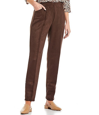 Allison Daley Black Luxe Suede Front Seam Straight Leg Pants