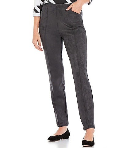Allison Daley Charcoal Luxe Suede Straight Leg Pull-On Pants