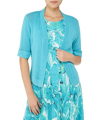 Allison Daley Elbow Sleeve Open Front Cardigan