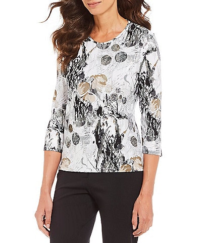 Allison Daley Metallic Print Crew Neck Top