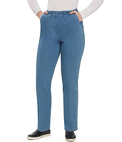 Allison Daley Mock-Fly Pull-On Denim Pants ea3179c0460