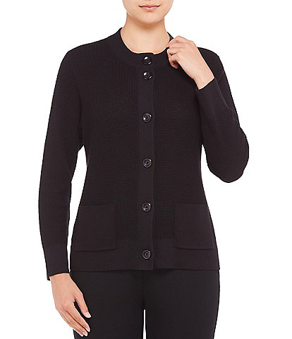 Allison Daley Mock Neck Button Front Cardigan