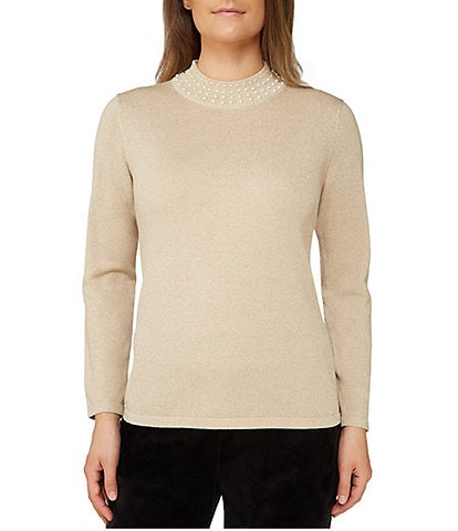 Allison Daley Pearl Embellished Mock Neck Pullover
