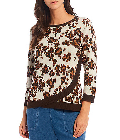 Allison Daley Petite Size 3/4 Sleeve Crew Neck Cross Over Hem Cheetah Spot Statement Sweater