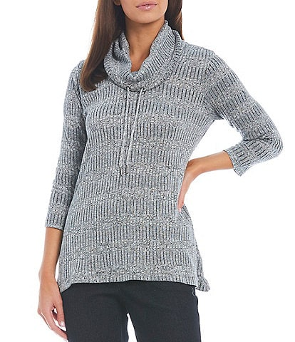 Allison Daley Petite Size 3/4 Sleeve Drawstring Cowl Neck Pullover