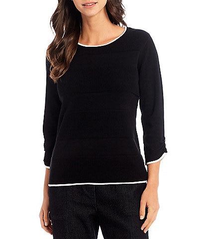 Allison Daley Petite Size 3/4 Sleeve Jewel Neck Variegated Rib Black Sweater