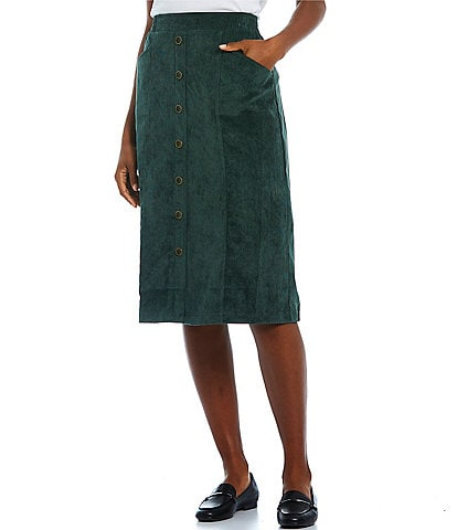 Allison Daley Petite Size A-Line High Rise Pull-On Silky Corduroy Button Skirt