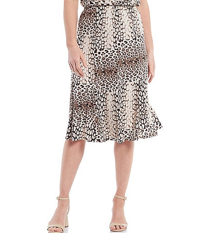 Allison Daley Petite Size Blocked Leopard Print Microfine Jersey Pull-On Panel Gored Skirt