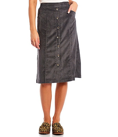 Allison Daley Petite Size Button Trim Silky Corduroy Pull-On Skirt
