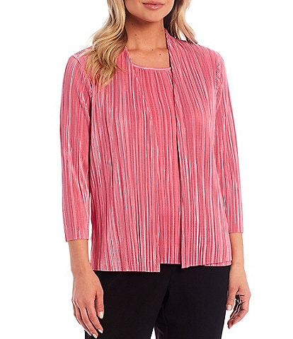 Allison Daley Petite Size Crystal Pleat 3/4 Sleeve Open-Front Cardigan