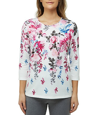 Allison Daley Petite Size Floral Print 3/4 Sleeve Knit Top