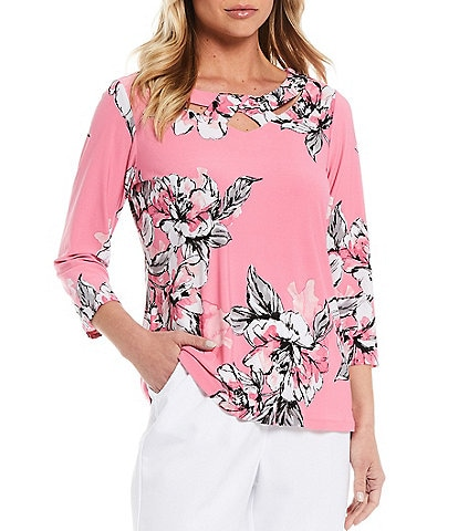 Allison Daley Petite Size Floral Print Crossover Cut-Out Neckline Detail 3/4 Sleeve Top