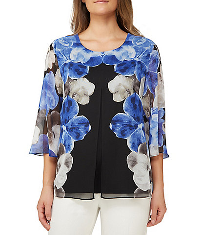 Allison Daley Petite Size Floral Print Slit Front Layered Top