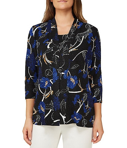Allison Daley Petite Size Floral Print Textured Pucker Knit Shawl Collar Open Front Cardigan