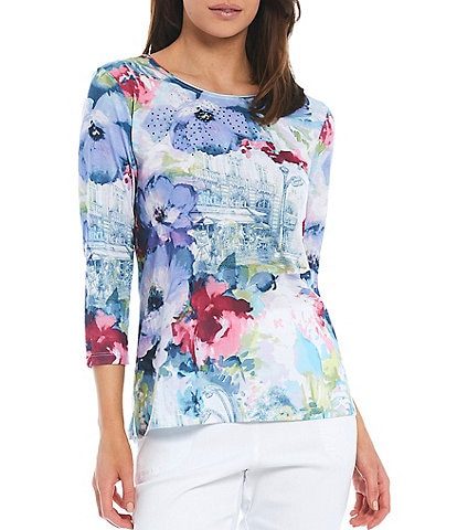 Allison Daley Petite Size French Bistro Print Rhinestone Embellished Detail 3/4 Sleeve Crew Neck Top