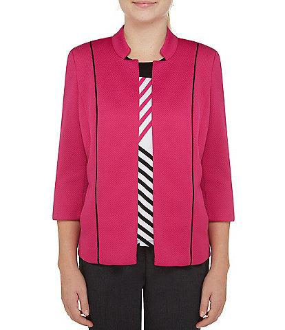 Allison Daley Petite Size Geo Knit Notch Collar Open Front Jacket