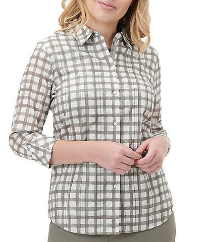 Allison Daley Petite Size Gingham Dobby Stripe 3/4 Roll-Tab Sleeve Button Down Shirt