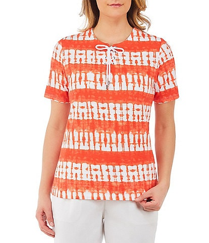 Allison Daley Petite Size Lace-Up Tie Dye Tee