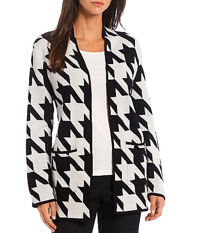 Allison Daley Petite Size Long Sleeve Houndstooth Open Front Cardigan