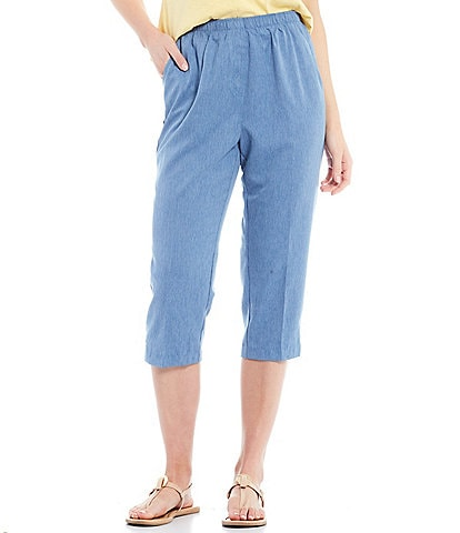 Allison Daley Petite Size Microfiber Twill Silver Ring Embellished Hem Detail Pull-On Capri Pants