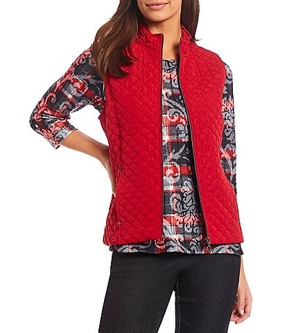 Allison Daley Petite Size Mock Neck Zip Front Sleeveless Quilted Vest