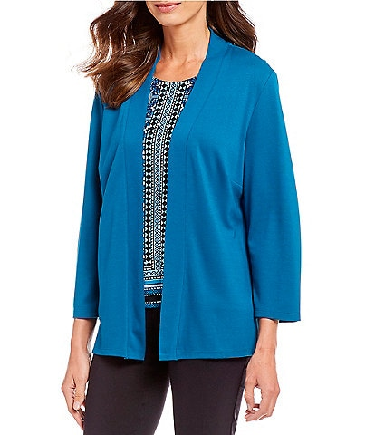 Allison Daley Petite Size Open Front Lace-Up Grommet Detail Cardigan
