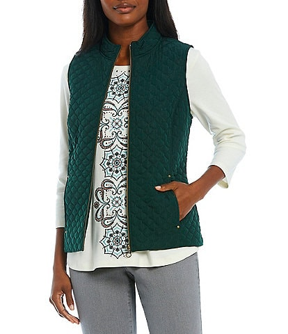 Allison Daley Petite Size Quilted Woven Mandarin Collar Sleeveless Zip Front Vest