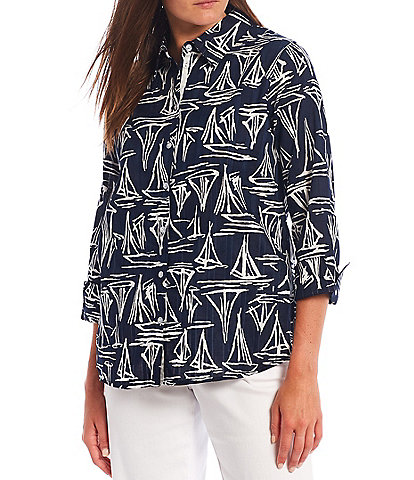 Allison Daley Petite Size Sail Boats Print 3/4 Sleeve Button Front Top