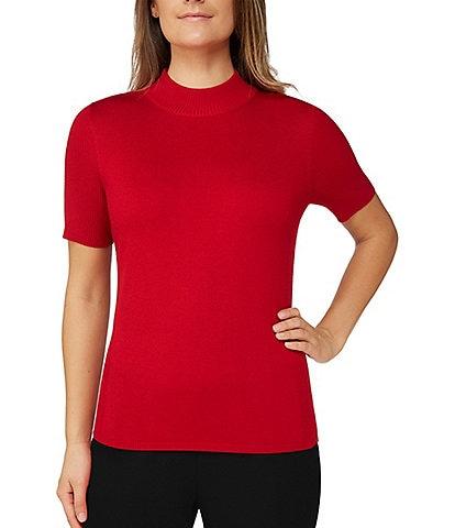 Allison Daley Petite Size Solid Mock Neck Short Sleeve Pullover