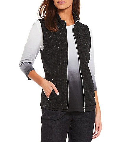 Allison Daley Petite Size Stand Collar Zipper-Front Woven Quilted Vest