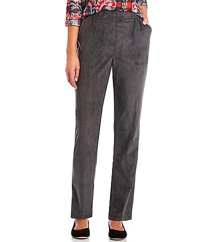 Allison Daley Petite Size Silky Corduroy Straight Leg Pull-On Pants