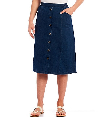 Allison Daley Petite Size Stretch Denim Button Accent Details Pull-On Skirt