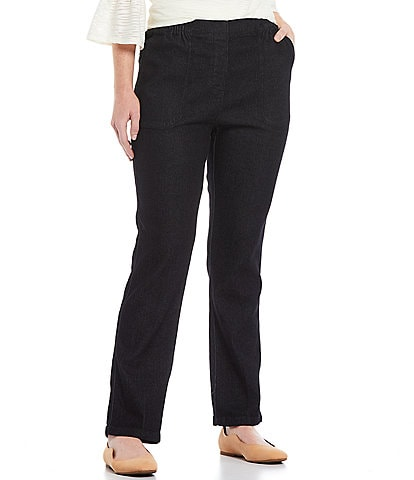 Allison Daley Petite Size Petite Size Stretch Denim Straight Leg Pull-On Pants