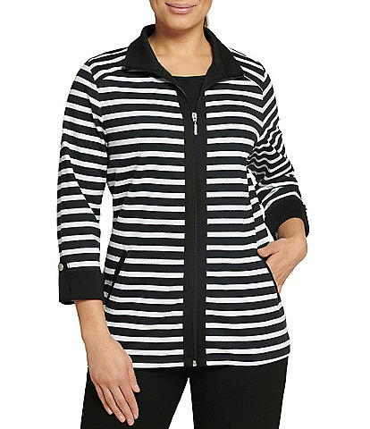 Allison Daley Petite Size Striped San Remo Knit Zipper Front Jacket