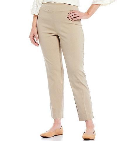 Allison Daley Petite Size Tech Stretch Embellished Hem Detail Pull-On Ankle Pants