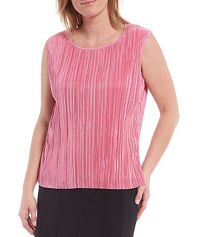 Allison Daley Petite Size Textured Crystal Pleat Scoop Neck Sleeveless Top