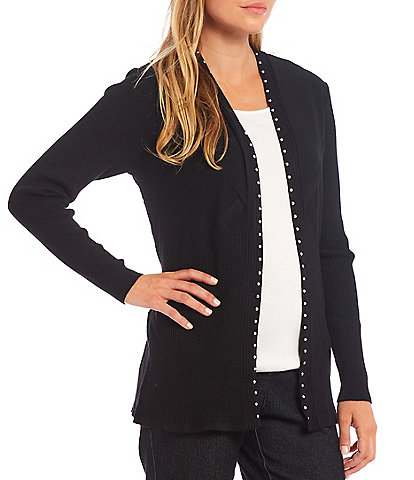 Allison Daley Petite Size Variegated Rib Long Sleeve Open Front Black Cardigan