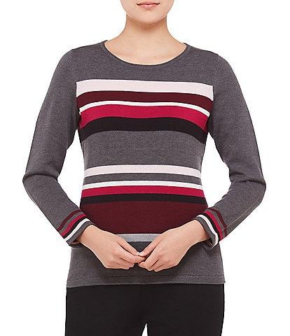 Allison Daley Petite Size Wide Crew Neck Stripe Pullover Sweater