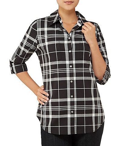 Allison Daley Plaid Roll Tab Sleeve Button Front Shirt