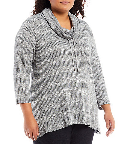 Allison Daley Plus Size 3/4 Sleeve Drawstring Cowl Neck Pullover