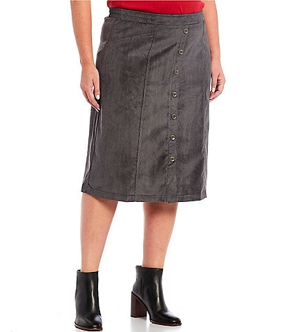 Allison Daley Plus Size Charcoal Button Trim Silky Corduroy Pull-On Skirt