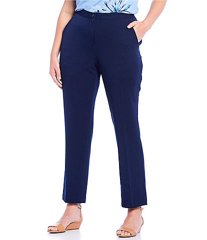 Allison Daley Plus Size Comfort Waist Straight Leg Pants