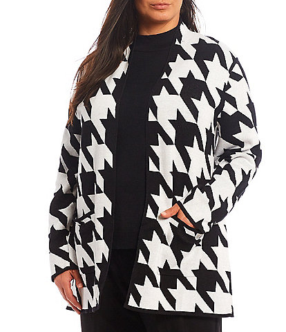 Allison Daley Plus Size Long Sleeve Houndstooth Open-Front Cardigan