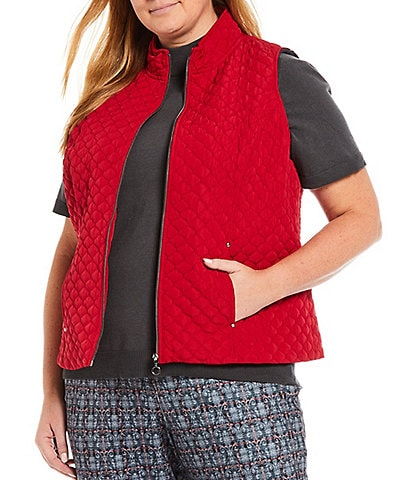 Allison Daley Plus Size Mock Neck Sleeveless Zip Front Quilted Vest