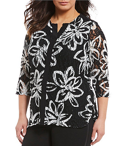 Allison Daley Plus Size Printed Textured Lace Notch V-Neck Tunic