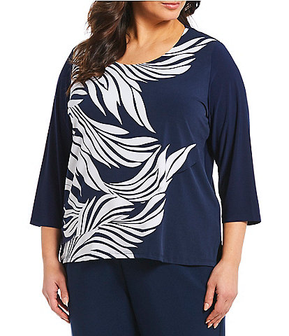 5b9970a79e379f Allison Daley Plus Size Scoop Neck Feather Print Layer Front Jersey Top