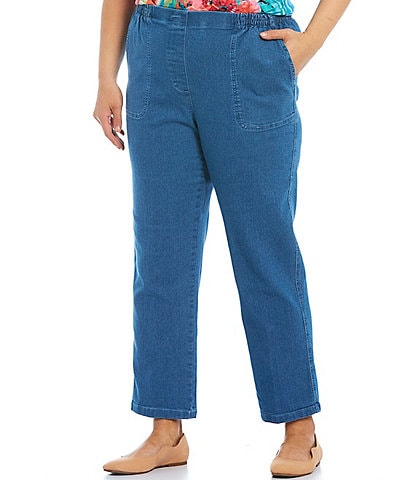 Allison Daley Plus Size Stretch Denim Straight Leg Pull-On Pants